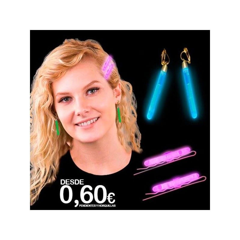 Pendientes fluorescentes largos y horquillas luminosas