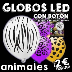 Globos LED estampado animal con botón