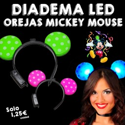 Diademas Luminosas Orejas Mickey Mouse LED